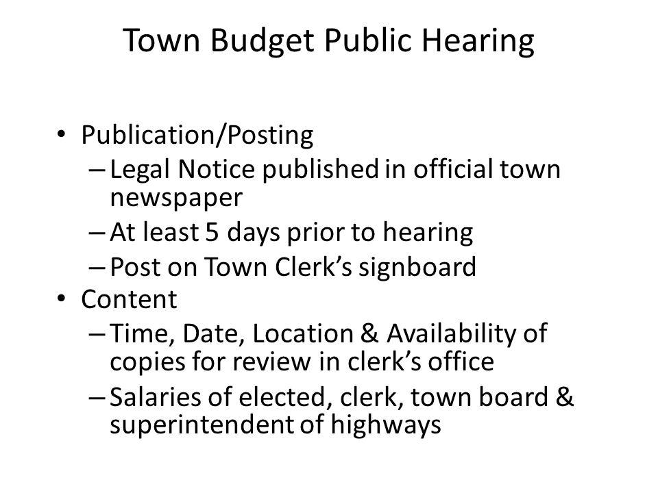 Town Budget Public Hearing