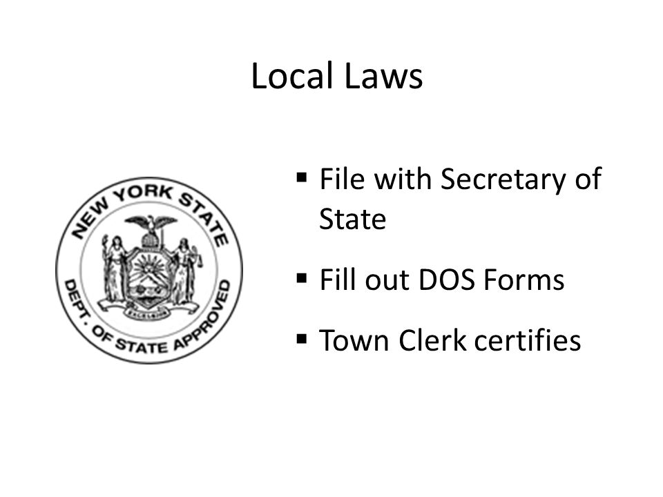 Local Laws File with Secretary of State Fill out DOS Forms