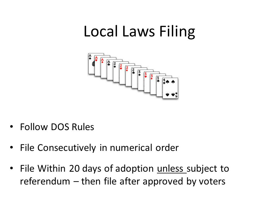 Local Laws Filing Follow DOS Rules