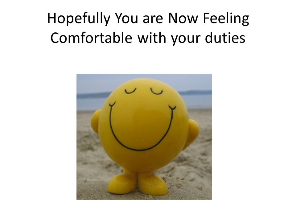 Hopefully You are Now Feeling Comfortable with your duties