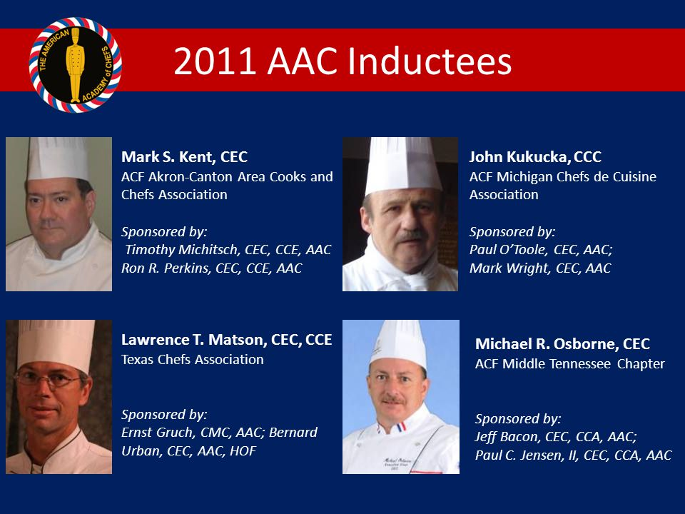 2011 AAC Inductees Mark S. Kent, CEC John Kukucka, CCC