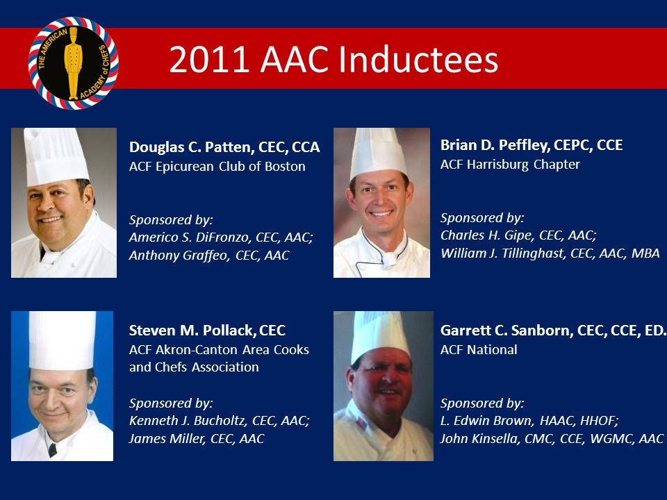 2011 AAC Inductees Douglas C. Patten, CEC, CCA ACF Epicurean Club of Boston. Sponsored by: Americo S. DiFronzo, CEC, AAC; Anthony Graffeo, CEC, AAC.