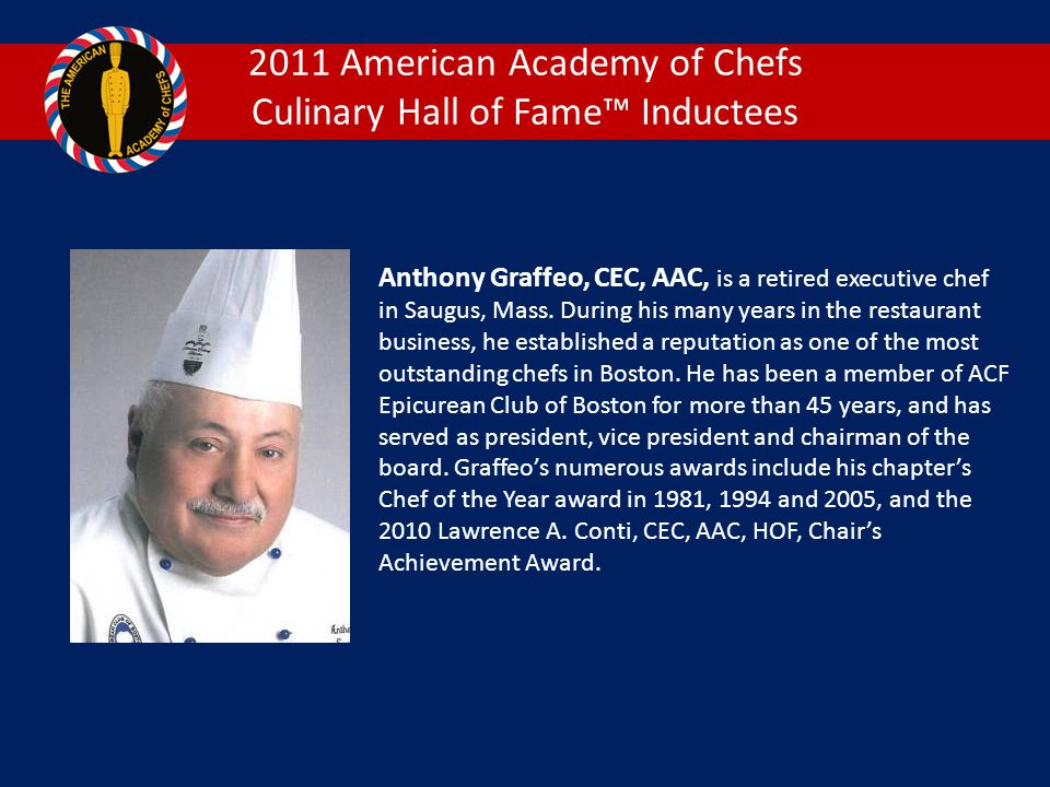 2011 American Academy of Chefs Culinary Hall of Fame™ Inductees