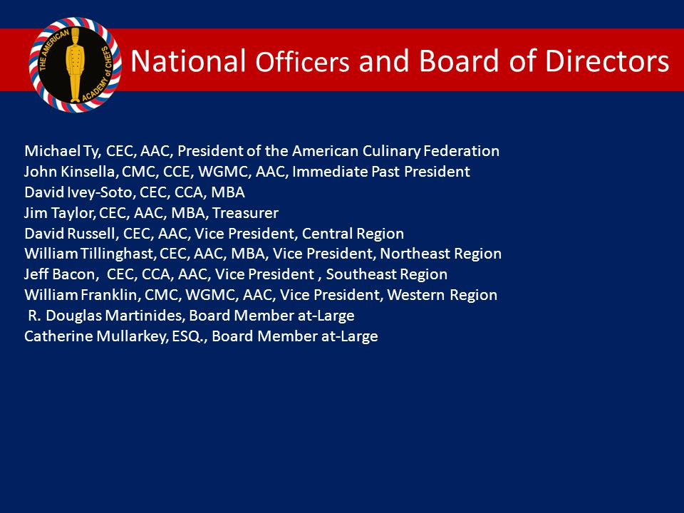 National Officers and Board of Directors