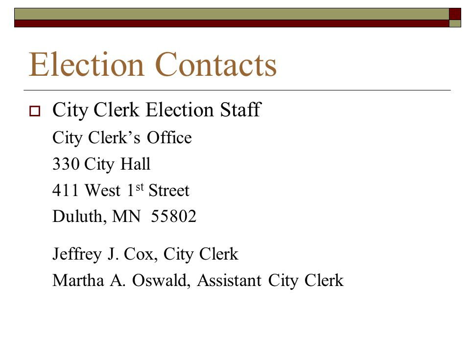 Election Contacts City Clerk Election Staff City Clerk's Office
