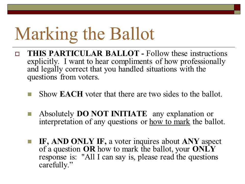 Marking the Ballot