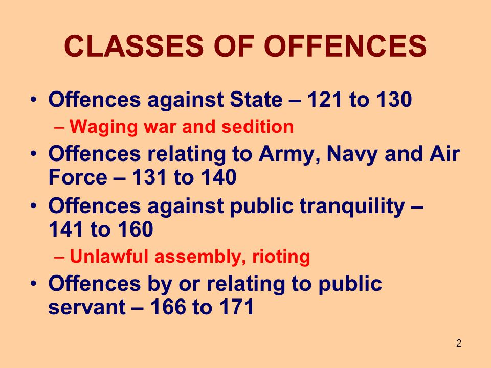 CLASSES OF OFFENCES Offences against State – 121 to 130