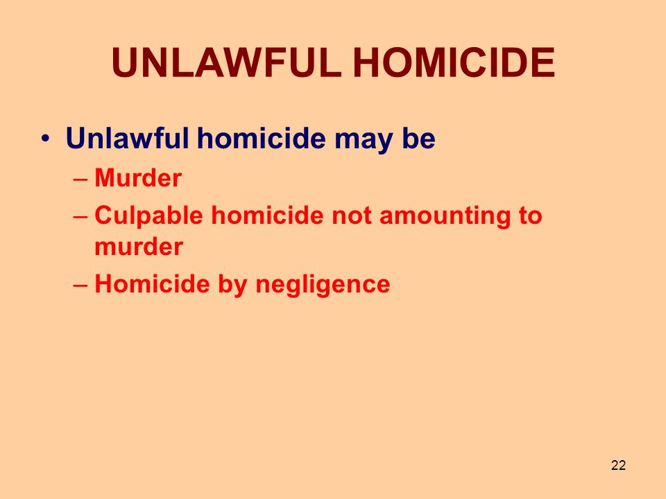 UNLAWFUL HOMICIDE Unlawful homicide may be Murder