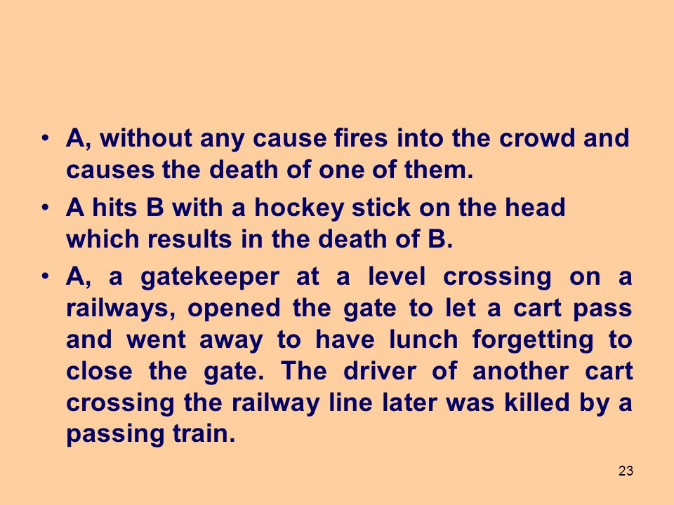 A, without any cause fires into the crowd and causes the death of one of them.