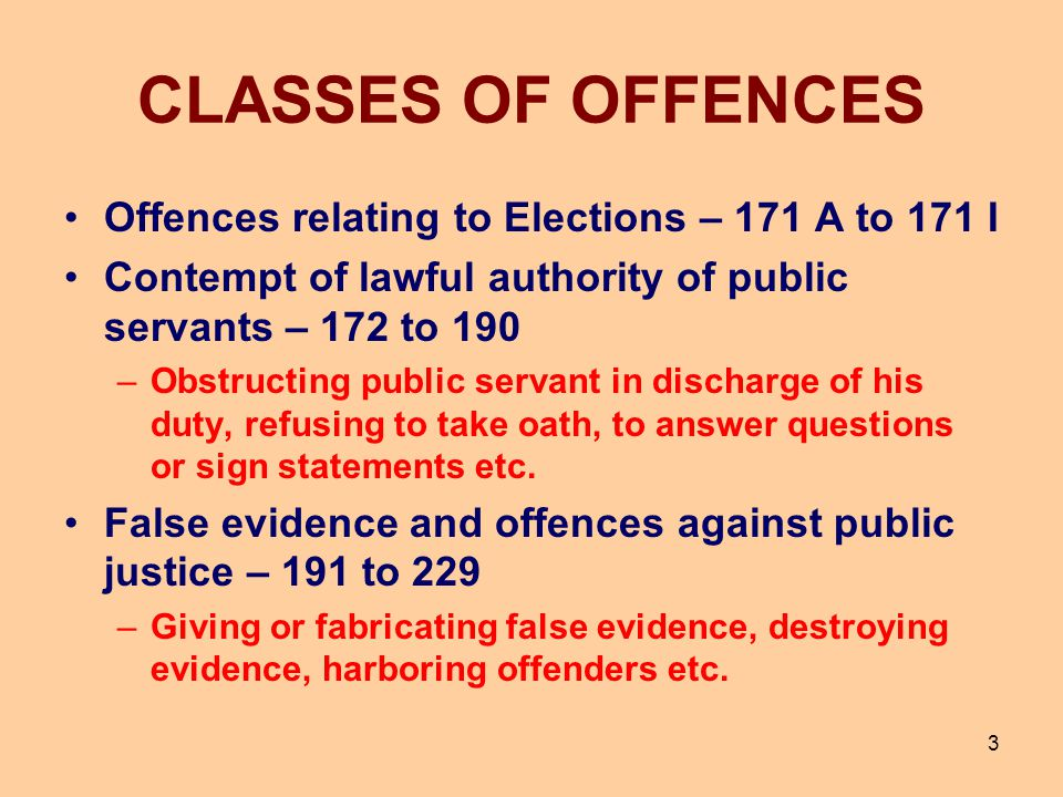 CLASSES OF OFFENCES Offences relating to Elections – 171 A to 171 I