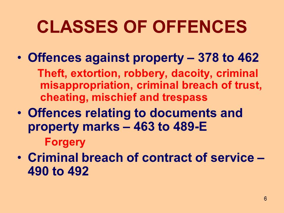 CLASSES OF OFFENCES Offences against property – 378 to 462