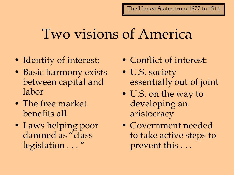 Two visions of America Identity of interest: