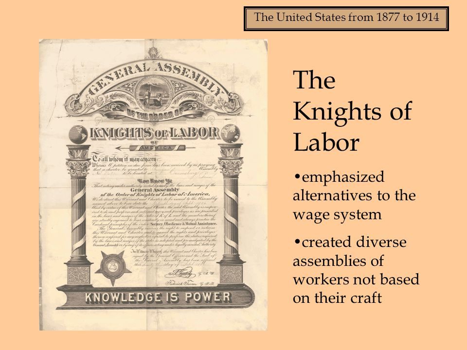The Knights of Labor emphasized alternatives to the wage system