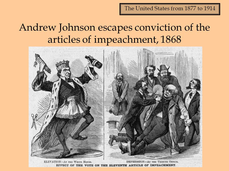Andrew Johnson escapes conviction of the articles of impeachment, 1868
