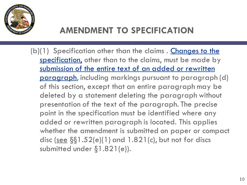 AMENDMENT TO SPECIFICATION