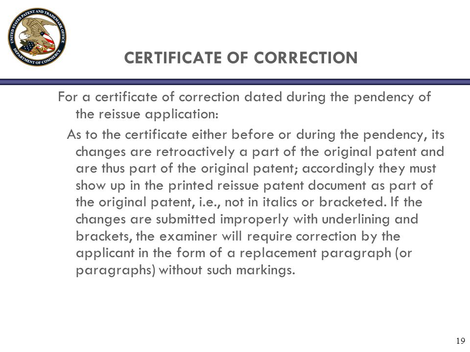 CERTIFICATE OF CORRECTION