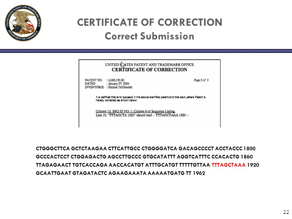 CERTIFICATE OF CORRECTION Correct Submission
