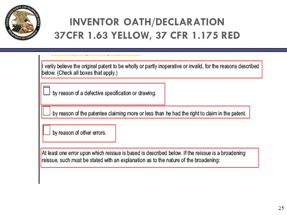 INVENTOR OATH/DECLARATION 37CFR 1.63 YELLOW, 37 CFR 1.175 RED