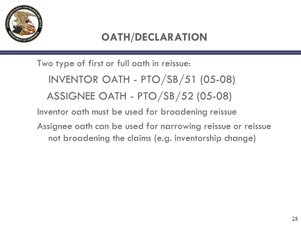 ASSIGNEE OATH - PTO/SB/52 (05-08)