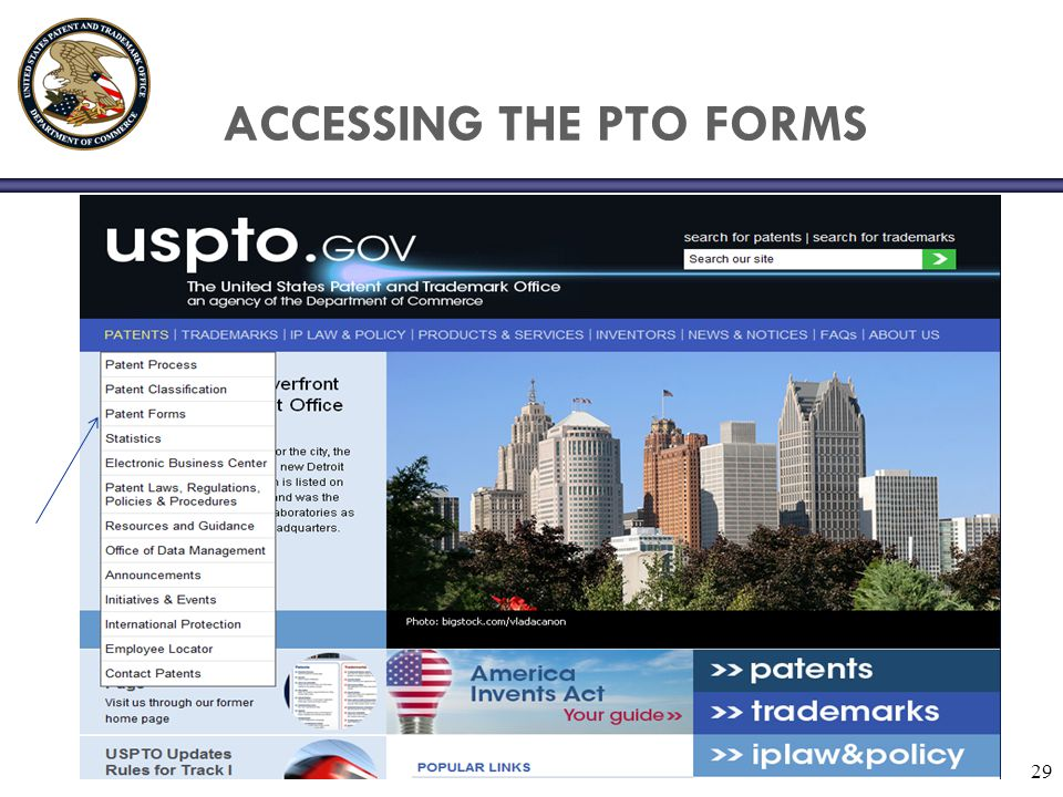 ACCESSING THE PTO FORMS
