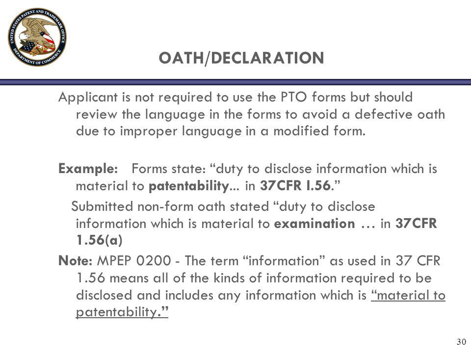OATH/DECLARATION