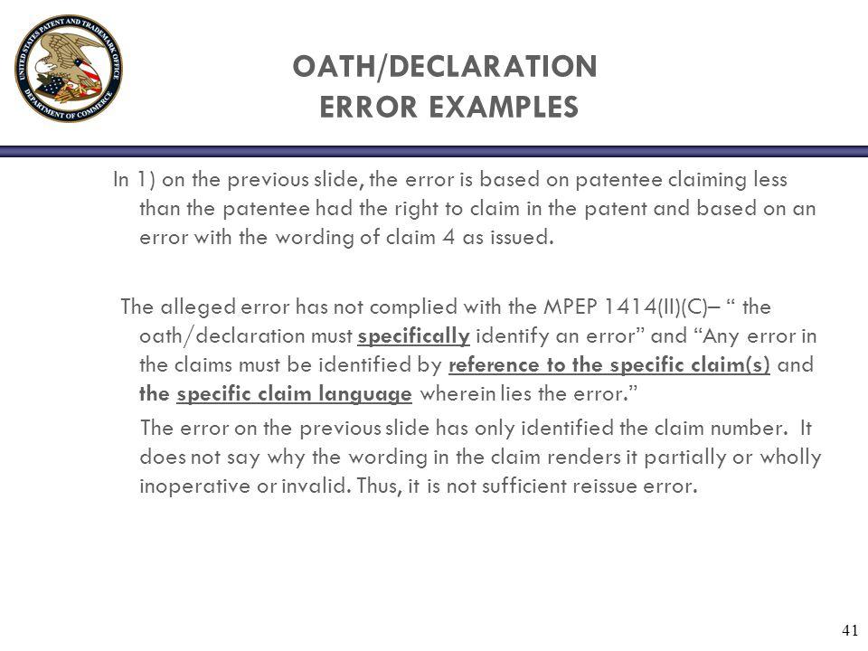 OATH/DECLARATION ERROR EXAMPLES