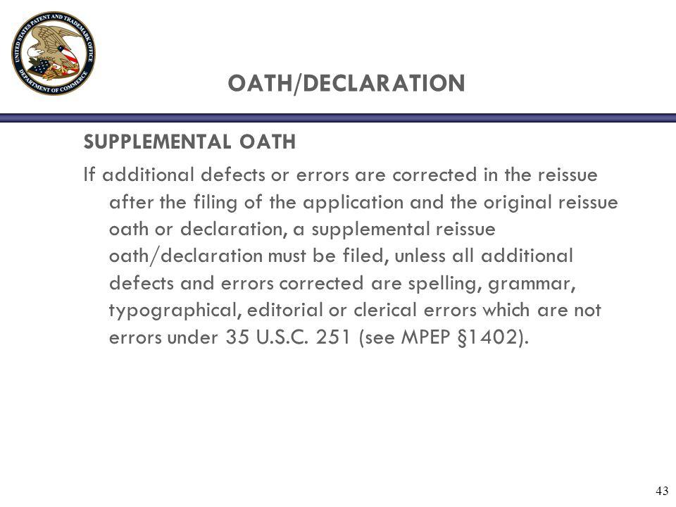 OATH/DECLARATION SUPPLEMENTAL OATH