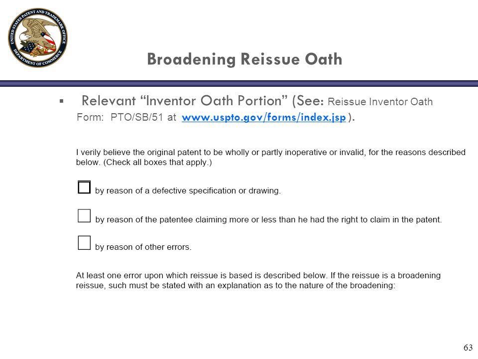 Broadening Reissue Oath
