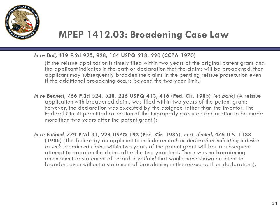 MPEP 1412.03: Broadening Case Law
