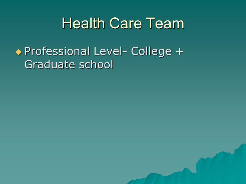 Health Care Team Professional Level- College + Graduate school