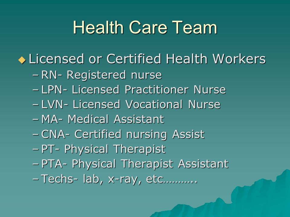 Health Care Team Licensed or Certified Health Workers