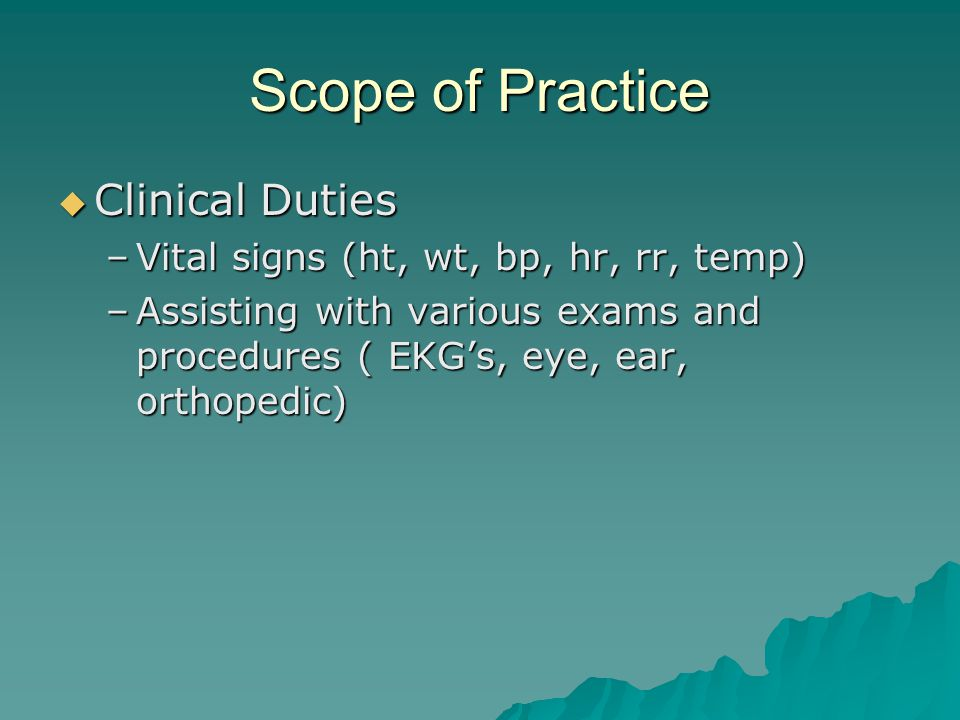 Scope of Practice Clinical Duties