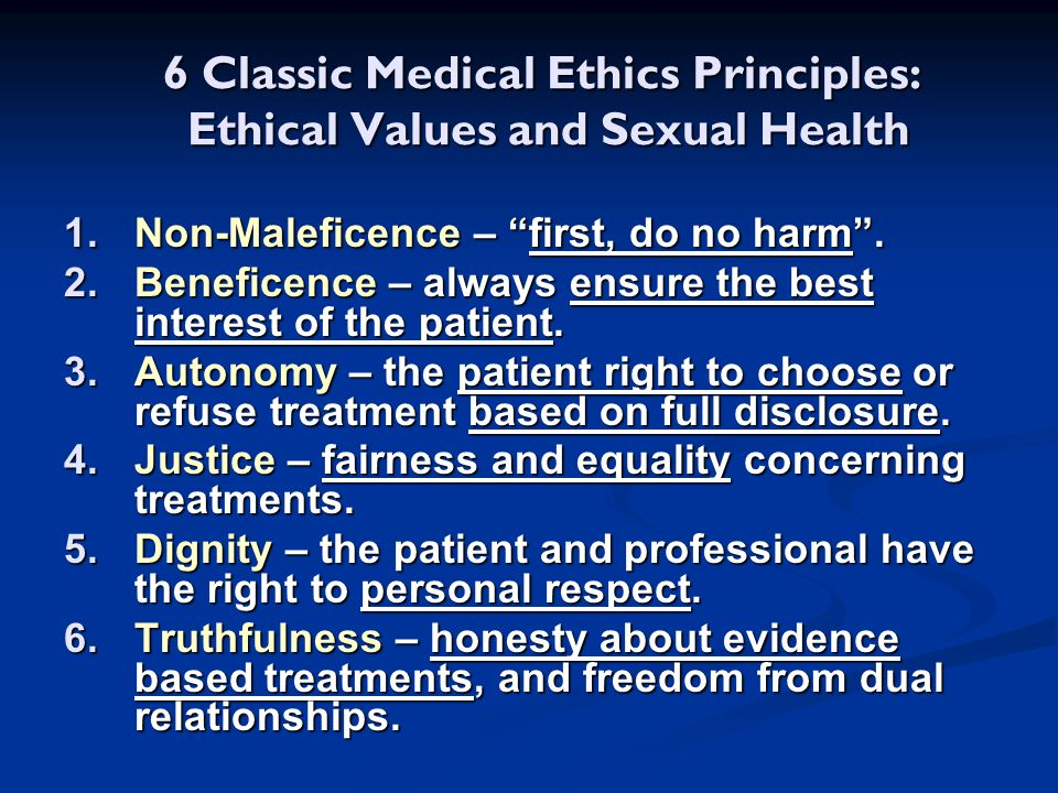 6 Classic Medical Ethics Principles: Ethical Values and Sexual Health