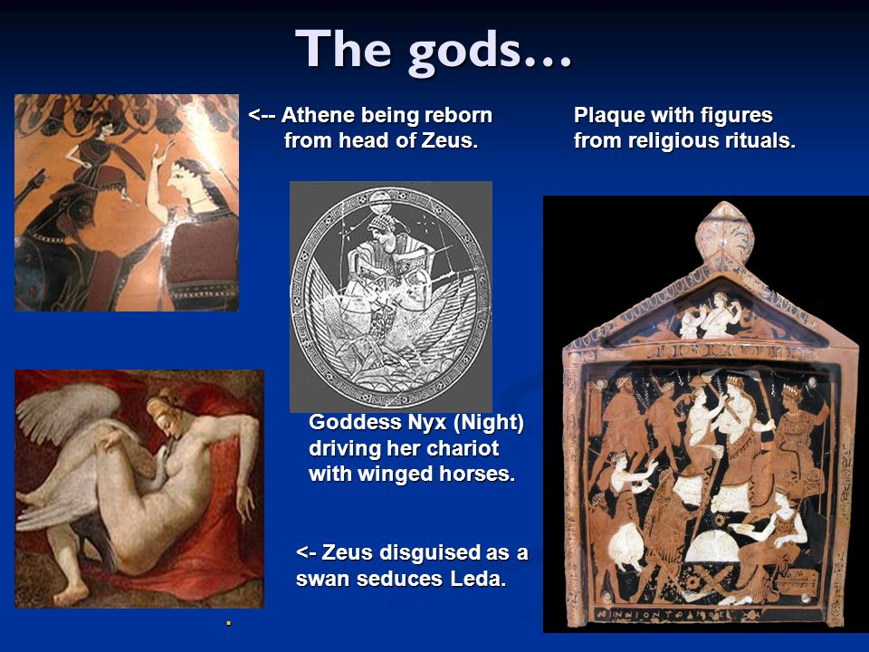 The gods… <-- Athene being reborn Plaque with figures
