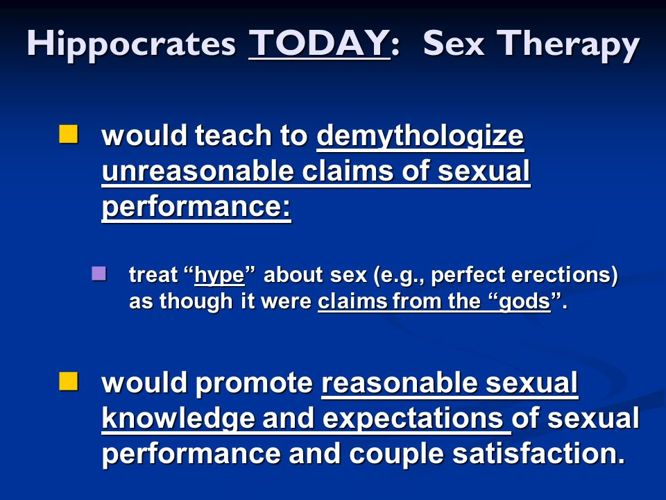 Hippocrates TODAY: Sex Therapy