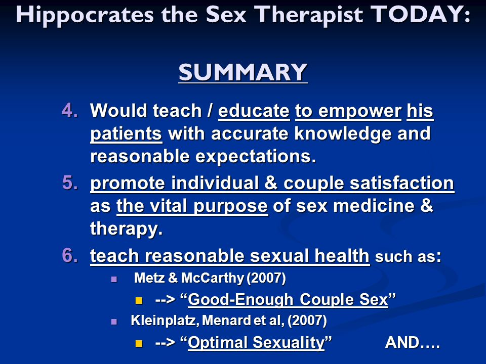 Hippocrates the Sex Therapist TODAY: SUMMARY