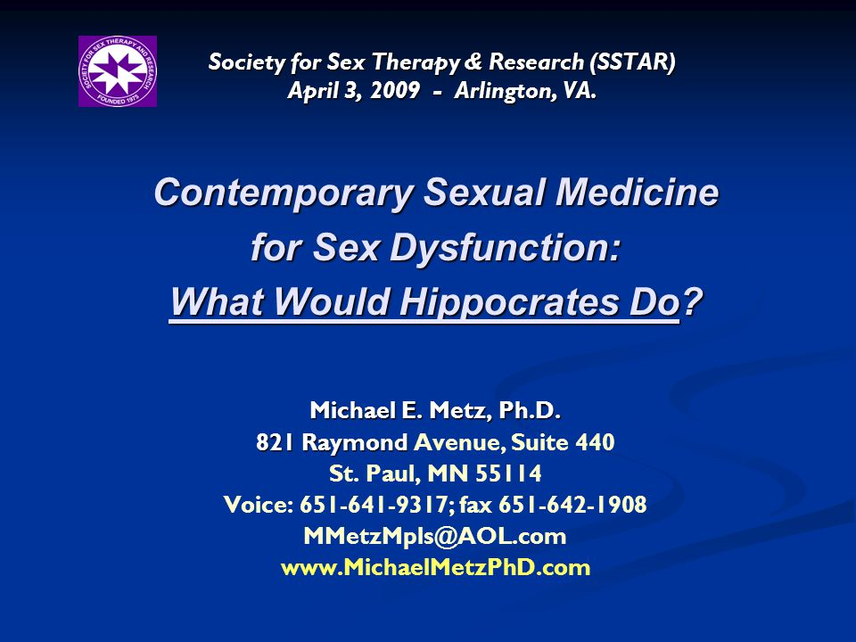 Contemporary Sexual Medicine What Would Hippocrates Do