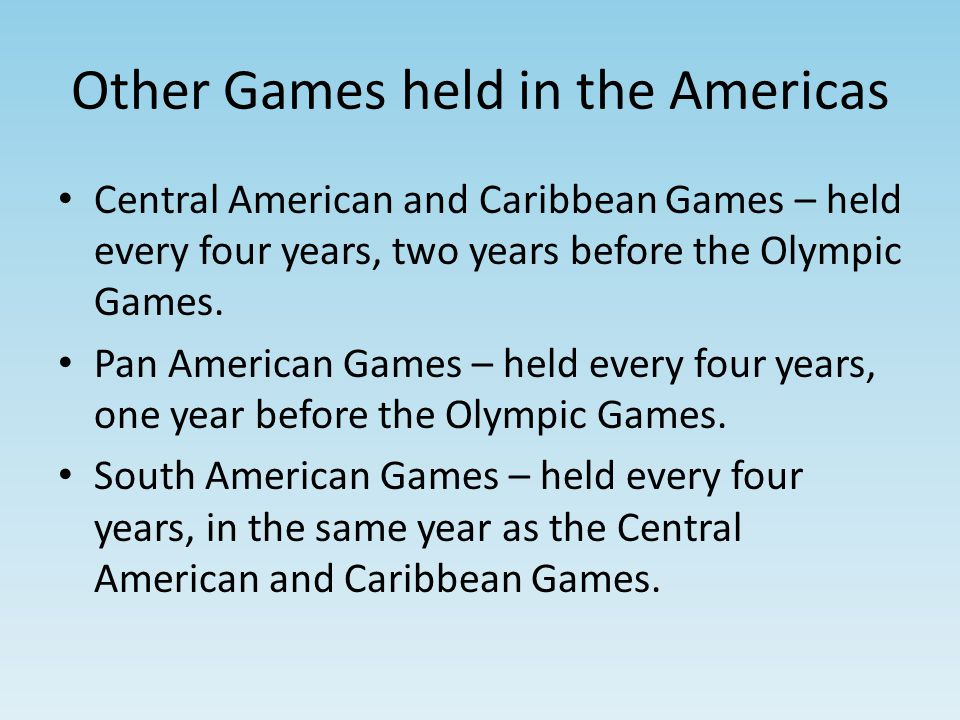 Other Games held in the Americas
