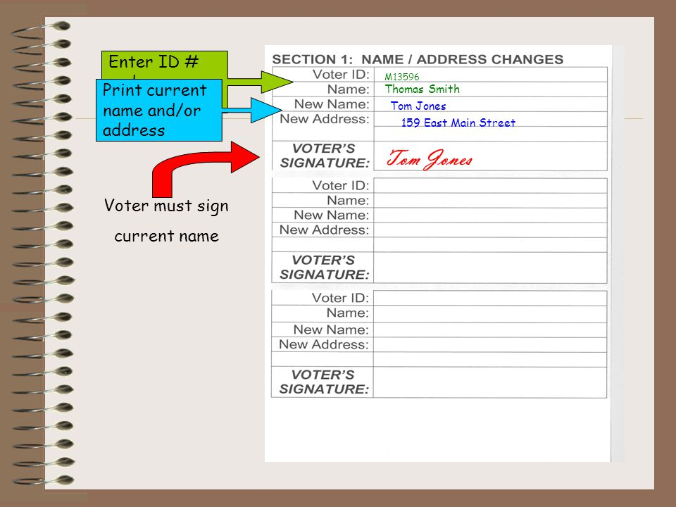 Tom Jones Enter ID # and name from poll book Print current name and/or