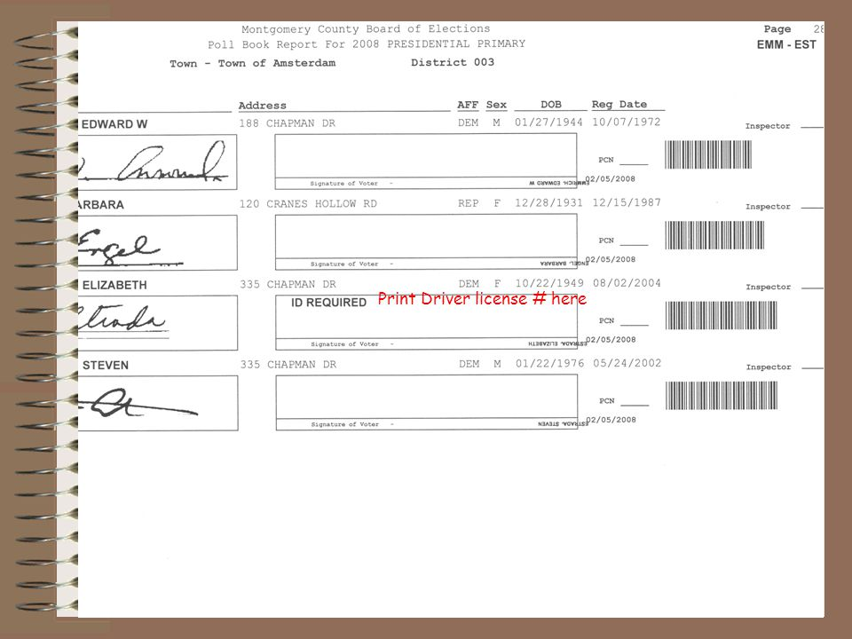 Print Driver license # here