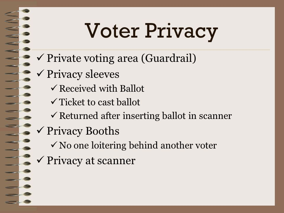 Voter Privacy Private voting area (Guardrail) Privacy sleeves