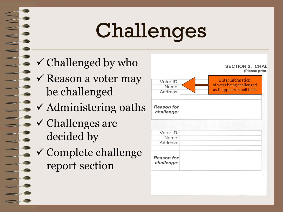 Challenges Challenged by who Reason a voter may be challenged