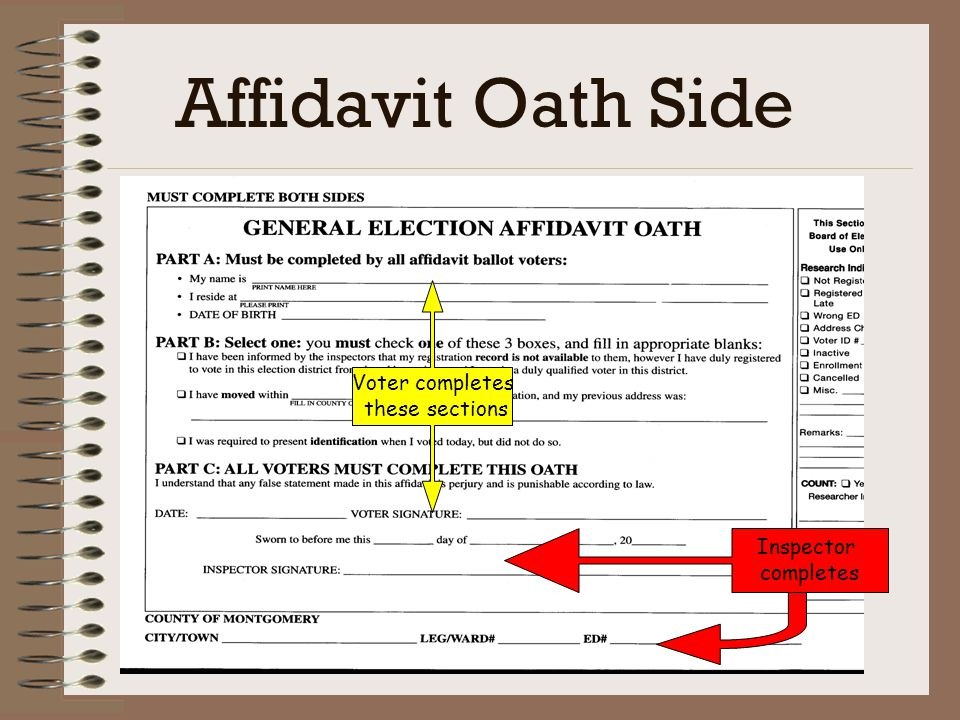 Affidavit Oath Side Voter completes these sections Inspector completes