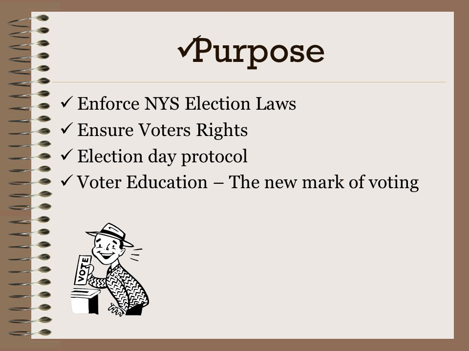 Purpose Enforce NYS Election Laws Ensure Voters Rights