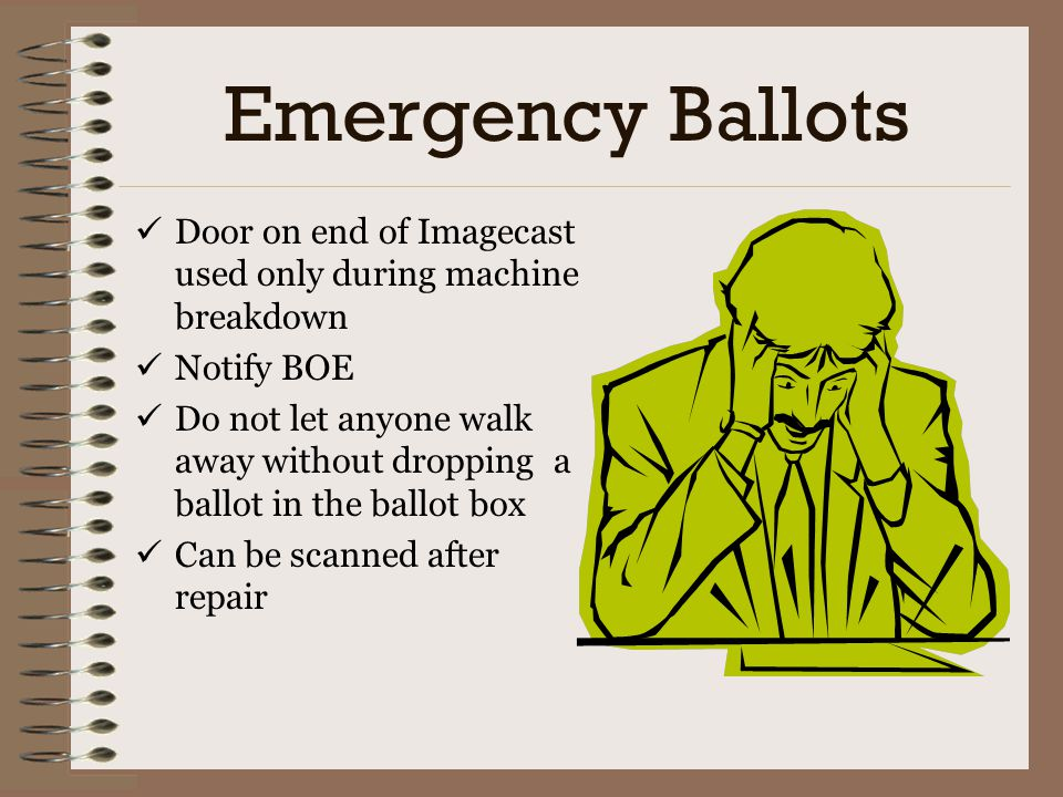 Emergency Ballots Door on end of Imagecast used only during machine breakdown. Notify BOE.