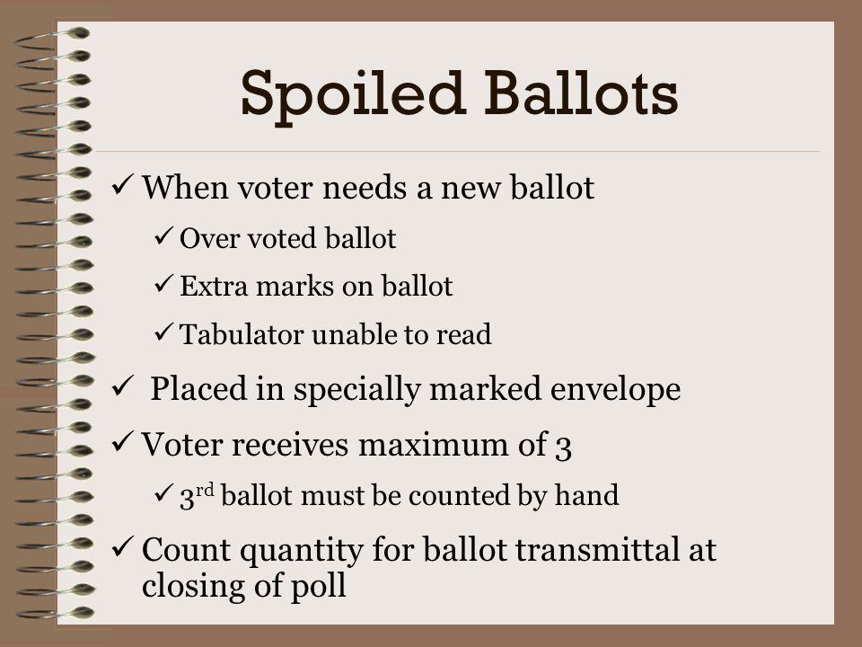 Spoiled Ballots When voter needs a new ballot