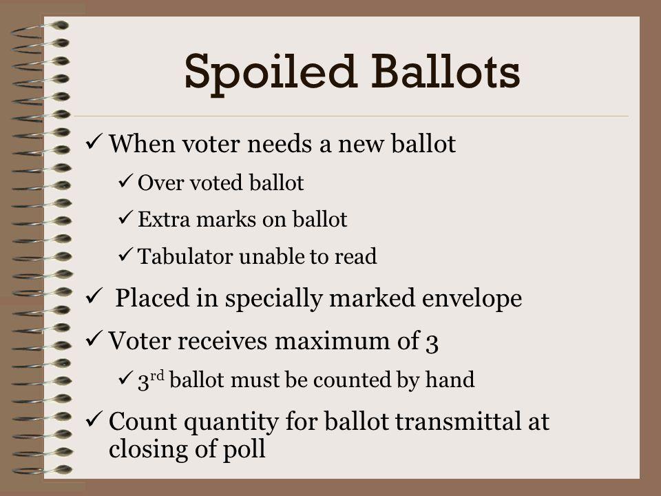 Spoiled Ballots When voter needs a new ballot