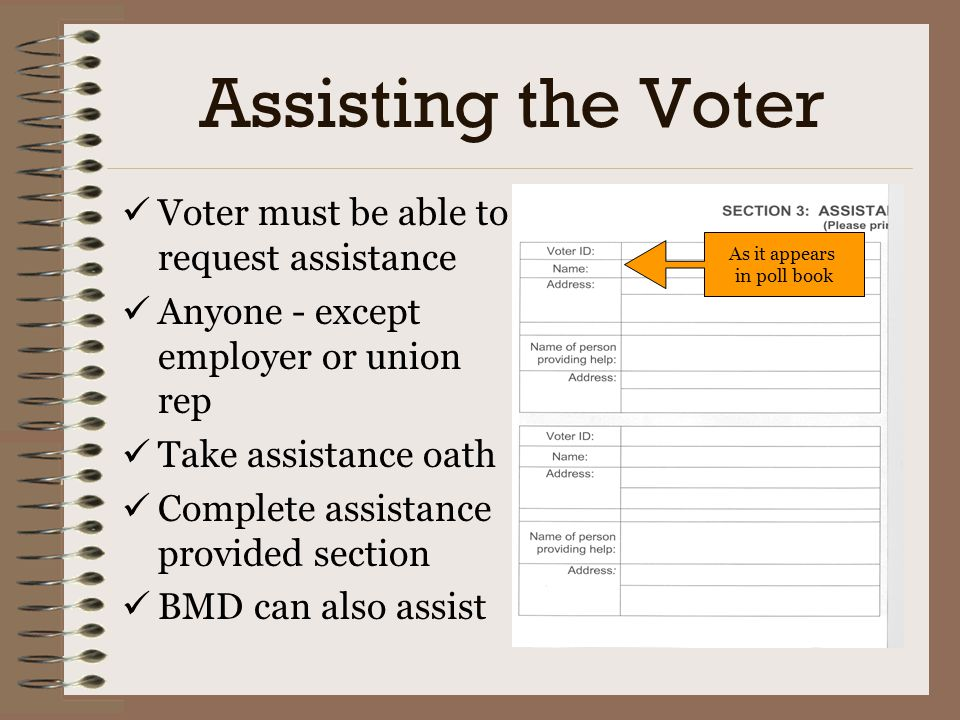 Assisting the Voter Voter must be able to request assistance