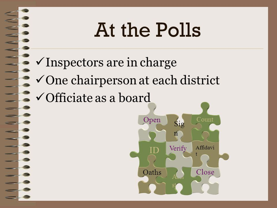 At the Polls Inspectors are in charge One chairperson at each district