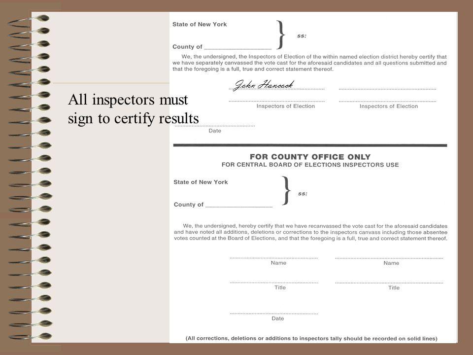 All inspectors must sign to certify results